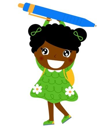 Cute girl holding school accessory cartoon illustration Ilustração