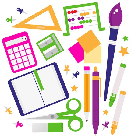Set of school items cartoon Vector