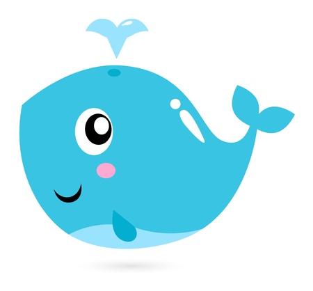 ballena azul: Feliz animales bajo el agua ilustración de dibujos animados Vectores