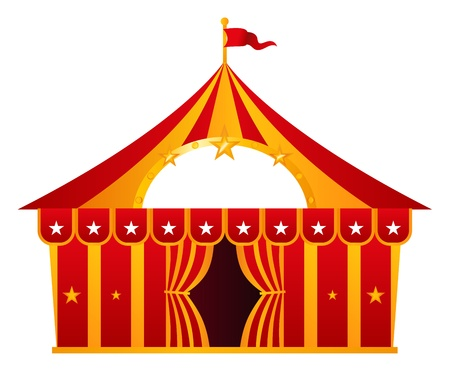 marquee tent: Circus tent illustration isolated on white.