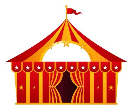 cirkusz: Cirkuszi sátor illusztráció elszigetelt fehér. Illusztráció
