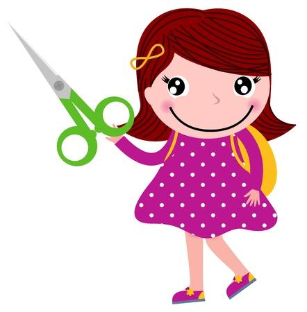 Niño lindo feliz con tijeras. ilustración de dibujos animados