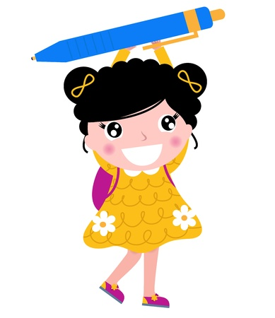 1 school bag: Cute little school girl holding pen. Illustration