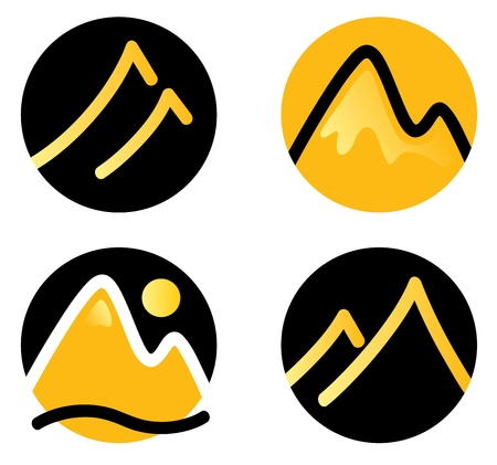 snow mountains: Hill in circles icons set.
