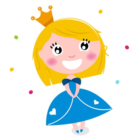 isolate: Happy smiling cute princess.  illustration
