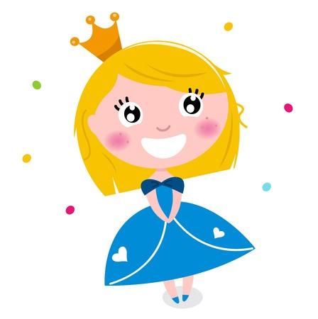 petite fille avec robe: Sourire heureux mignon princesse. illustration