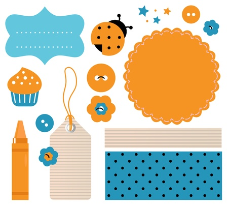Retro elements for scrapbooking.  Illustration Illustration