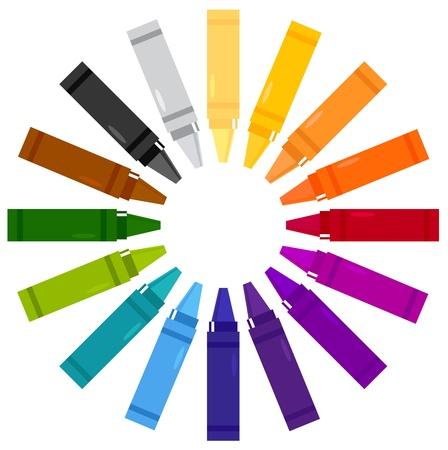colour pencils: Crayons set.  stylized illustration Illustration