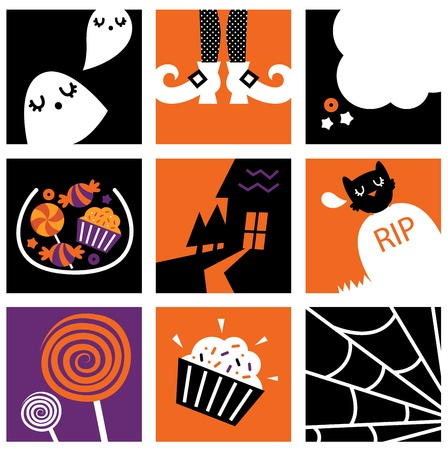 Set of stylized halloween icons. Vector Vector