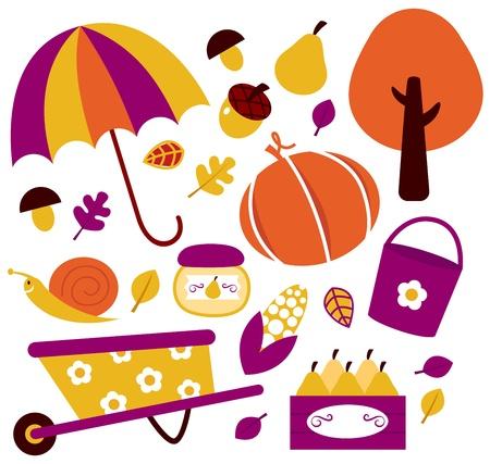 pear tree: Autumn garden set. Vector illustration Illustration