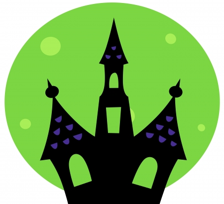 victorian house: Haunted house silhouette. Vector cartoon Illustration