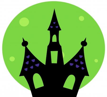 victorian house: Haunted house silhouette. Vector cartoon Illustration