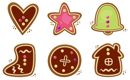 Gingerbread cookies in various shapes. Vector collection Illustration