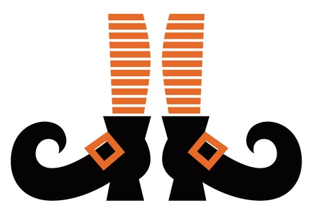 legs stockings: Orange striped witch legs. Vector cartoon Illustration