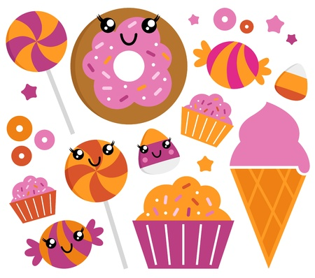 confection: Sweet pink candy collection. Vector cartoon