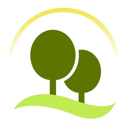 forest conservation: Nature or forest sign or symbol. Vector Illustration