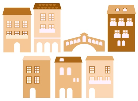 Retro stylized residential houses. Vector Vector
