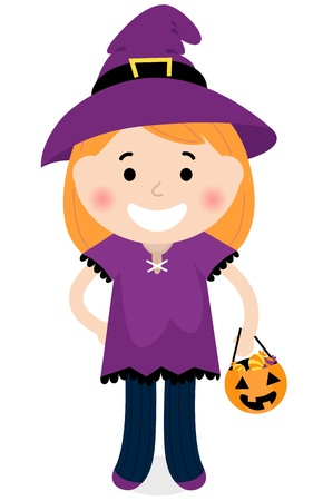 Little halloween Witch. Vector cartoon Illustration Vector