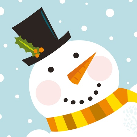 Happy Christmas snowman. Vector cartoon Illustration Vector