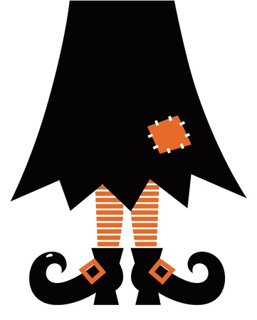 Halloweens witch. Orange striped legs, skirt and boots. Vector