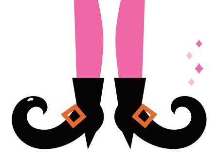 legs stockings: Gambe strega Vintage. Vector cartoon illustrazione