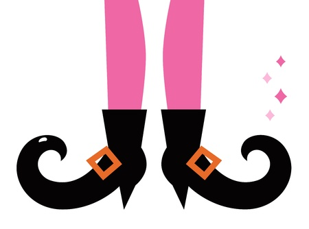 stockings and heels: Vintage witch legs. Vector cartoon Illustration Illustration