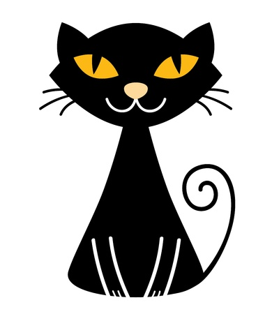 Stylized vector black cat. Vector Illustration