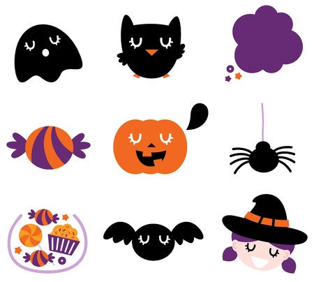 Halloween seasonal icons. Vector cartoon Stock Vector - 16162346
