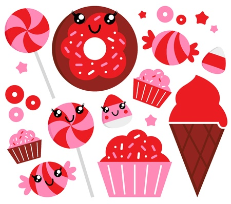 Sweet strawberry candy collection. Vector Vector