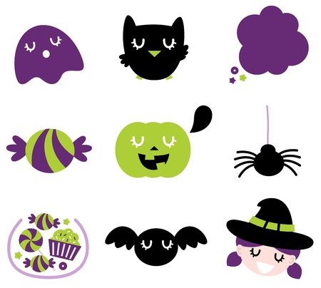 Halloween seasonal icons. Vector cartoon Vector
