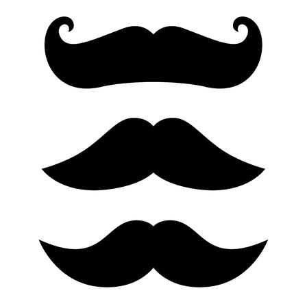 cartoon gangster: Gantleman curly Mustache set. Vector Illustration