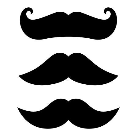 Gantleman curly Mustache set. Vector Illustration
