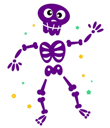 Funny Skeleton isolated on white. Vector cartoon illustration Illustration