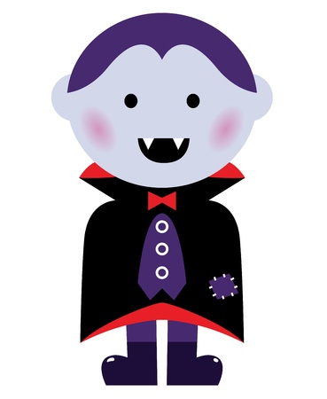Child in vampire costume. Vector cartoon illustration Vector