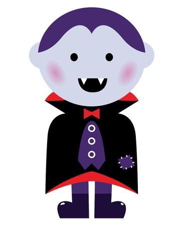 Child in vampire costume. Vector cartoon illustration