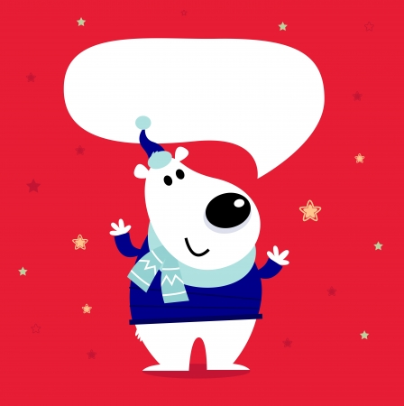 Funny polar bear on red snowing background. Vector cartoon Illustration Vector