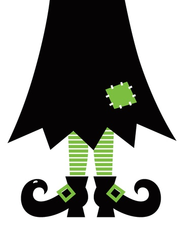 Halloweens witch. Green striped legs, skirt and boots.  Vector