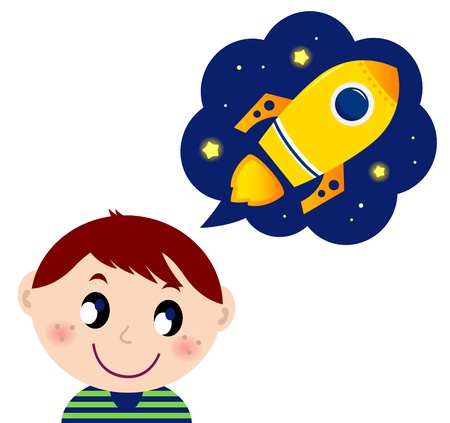 Cute boy dreaming about new spaceship.  cartoon Illustration  Vector