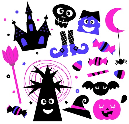 Cute Halloween cartoon elements.  Illustration  Vector