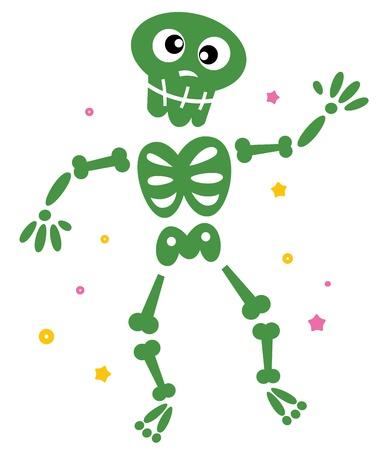 Esqueleto divertido aislado en blanco. ilustración de dibujos animados