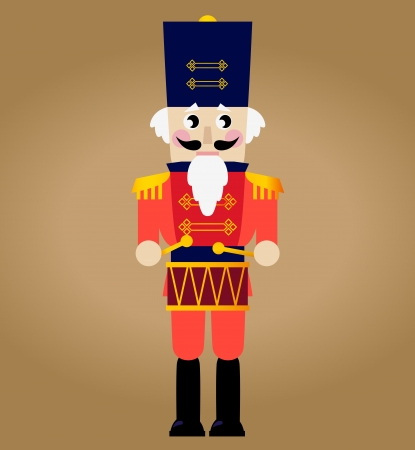 Tin soldier or Nutcracker with drum.   Vector