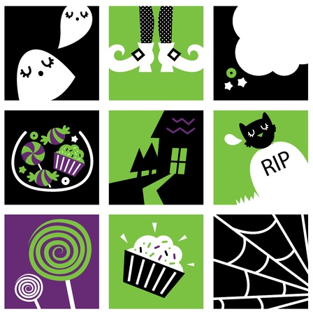 Set of stylized halloween icons - green and black. Vector Vector