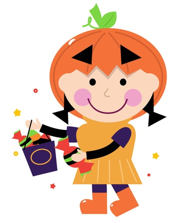 Cute little halloween Kid. Vector cartoon Illustration Vector
