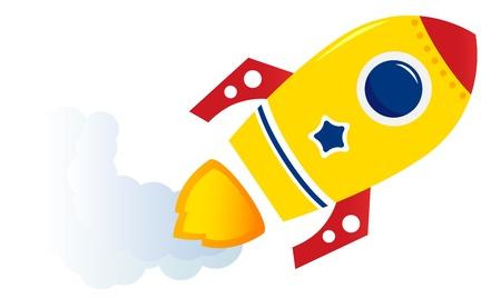 Cartoon spaceship isolated on white. Vector illustration Stock Vector - 16493947