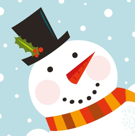 carrot nose: Happy Christmas snowman. Vector cartoon Illustration