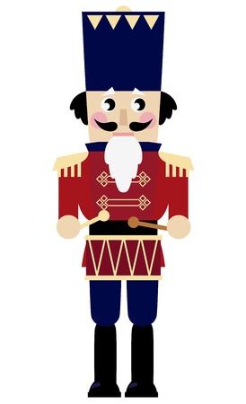 Tin Soldier of Notenkraker met drum. Vector Illustratie