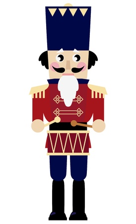 toy soldier: Tin soldier or Nutcracker with drum. Vector Illustration