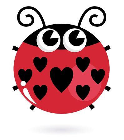 Coccinella carino a forma di cuore. Illustrazione vettoriale Vettoriali