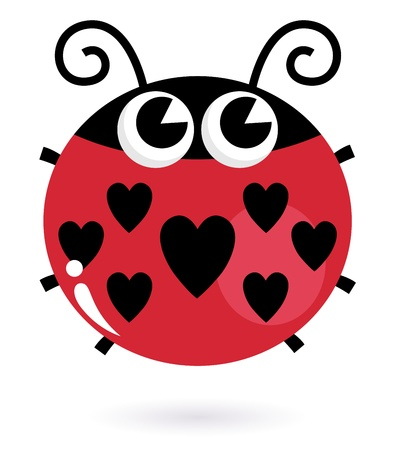 Cute heart shaped ladybug. Vector Illustration