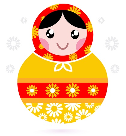 nested: Floral traditional Matrioshka. Vector Illustration